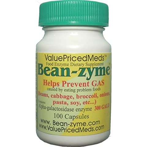 Bean-zyme Anti-Gas Digestive Aid, 100 Capsules, Food Enzyme Dietary