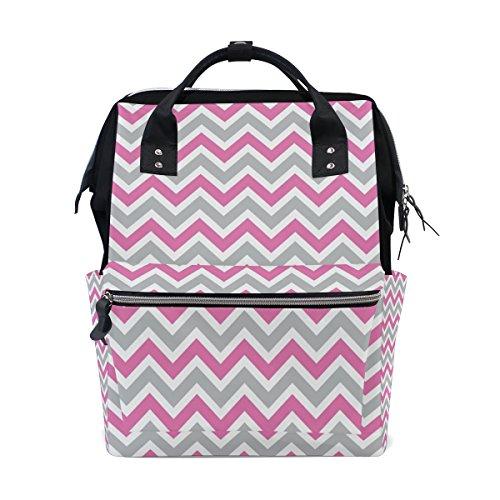 COOSUN Weiß, Grau, Rosa Chevron-Windel-Tasche Rucksack, große Kapazitäts-Muti-Funktion Spielraum-Rucksack Groß mehrfarbig