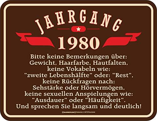 RAHMENLOS Deko Blechschild als Geschenk zum 40. Geburtstag Jahrgang 1980