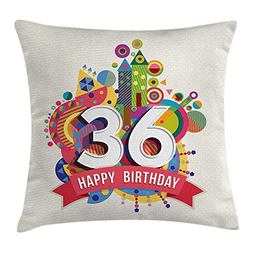 Decorations Throw Pillow Cushion Cover, Vintage Worn Old Print Middle Age Happy Birthday Party Image, Decorative Square Accent Pillow Case, 18 X 18 inches, Multicolor ()