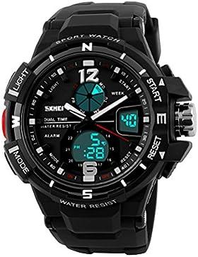 große Uhr der Männer Militäruhr Analog-Digital-Armbanduhr für Männer Sport führte wasserdichte Silikonuhren