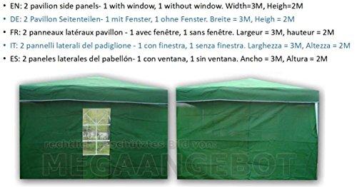 TOAKS Laterales para Carpa (sin Marco, Solo Dos páginas, Cierre con Velcro) 1x con Ventana + 1x Sin Ventana 2x 3m, Verde