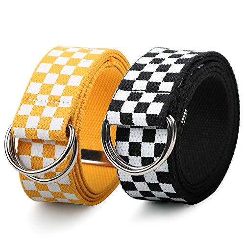 FLOFIA 2pcs Cinturón de Lona Tela Mujer Cinturón a Cuadros Blanco y Negro Blanco y Amarillo 130cm Cinturón Casual Unisex Mujer Hombre Moda Punk Accesorios de Ropa