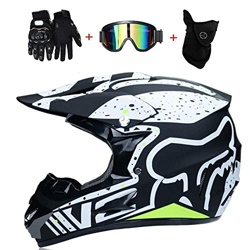BOCKST® Casco Moto,Casco da Motocross per Fuori-Strada - Set di caschi da Corsa da Strada per Casco Integrale da Corsa Four Seasons Cross-Country con Occhiali Maschera e Guanti(S,M,L,XL)