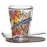 Ritzenhoff 3330004 A Cuppa Day Espressoglas, schwarz/blau/gelb/rot, 5.7 x 5.7 x 7.7 cm