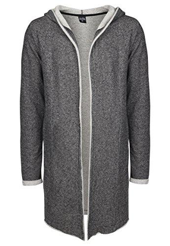 SUBLEVEL Herren Sweat-Cardigan mit Kapuze | Strickjacke | Long Cardigan aus hochwertiger Baumwolle black L (Hipster-schwarz-kleidung)