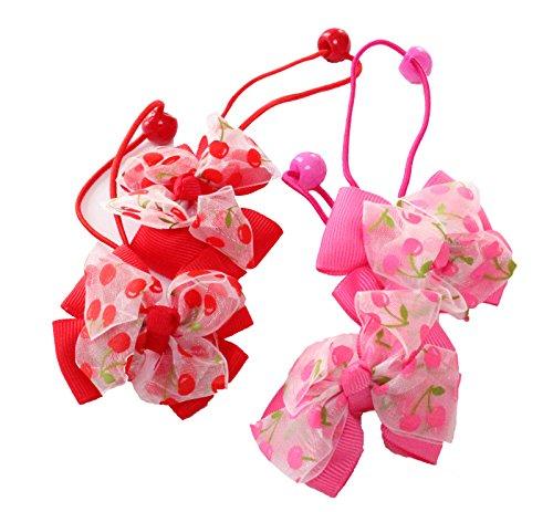 2 paires de filles Rouge cerise Rose ruban gros grain pompons