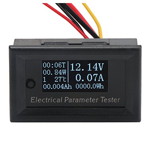 TOOGOO 7In1 OLED Multimeter Ampere Spannung Kapazit?t Lauf Zeit Temperatur Monitor Dc 100 V 10A Amperemeter Voltmeter Watt Meter 1000 Watt 10000 Watt 100Ah Tester
