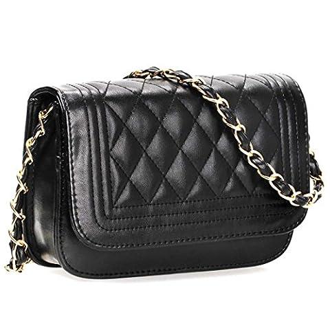 BMC massif en cuir PU de Mini sac à main matelassé avec embrayage - Noir - midnight,