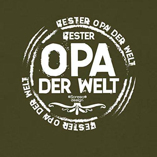 bequemes T-Shirt Herren Großvater Motiv Bester Opa der Welt Geschenkidee, Geburtstagsgeschenk kurzarm Outfit, cooler Spruch Farbe: khaki Khaki