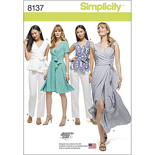 Simplicity Muster 8137Misses 'Plus Größe Wrap kleider/Top und Hosen Schnittmuster, weiß, Größe BB