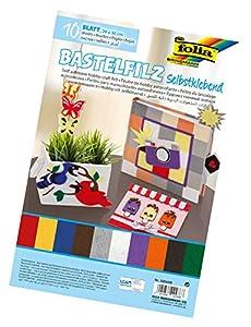 Folia 520499-Manualidades Fieltro Autoadhesivo, 10Hojas Colores Surtidos, Aprox. 20x 30cm
