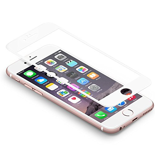 "iPhone 6s 6 Schutzfolie,Coolreall® Full Screen Curved Panzerglas für iPhone 6s 6 4,7"",[9H Härtegrad,3D-Touch kompatibel](Weiß)"