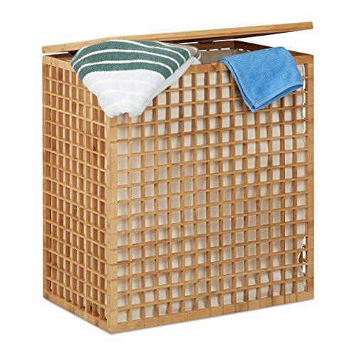 Relaxdays 10021471 cesto portabiancheria a 2 scomparti cesta per biancheria rettangolare con sacco 96 l, hlp: 62x56x35 cm, beige