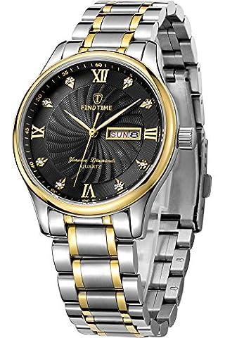 Herren Armbanduhr Gold Edelstahl Silber Luxus Fashion Design Analog Quarz Weiß Zifferblatt Business Kalender Datum
