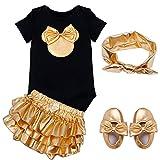TiaoBug Bébé Fille 4pcs Déguisement Carnaval Outfits Body Combinaison Barboteuse Haut + Bottoms + Bandeau + Chaussures 6-18 Mois Or, Noir Style 1 12 Mois