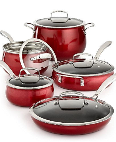 11 Piece Quality Home Cookware Set by Belgique | Non-Stick Aluminum | Red Translucent | High End Non-Stick Cookware for Great Home Cooking