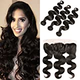 DAIMER Ear to Ear Closure Peruvian Natural Body Wave Echthaar Frontal Lace Closure 4x13 Free Part with Baby Hair Unprocessed Human Hair 18 20 22 +16 Frontal