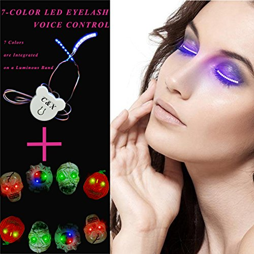 LED 7-color(7 Colors are Integrated on a Luminous Band) Voice-controlled Fashion Flashing Eyelash Lamp,Eyelashes Headlights for Halloween Party Concerts Bar NightClub Birthday Gift(The Box Has a Luminous Ring The Style (New Costume Flash Kid)