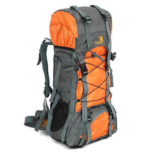 #Trekkingrucksack, Cooleaf 60L Wasserdichter Rucksack für Outdoor Wanderrucksack Trekking Camping, Wandern, Reisen und Bergsteigen Orange#