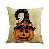 VEMOW Heißer Verkauf Happy Halloween 45 cm X 45 cm Kissen Dekoration Fall Glücklich Herbst Yall Leinen Sofa Kissenbezug(Mehrfarbig D, 18