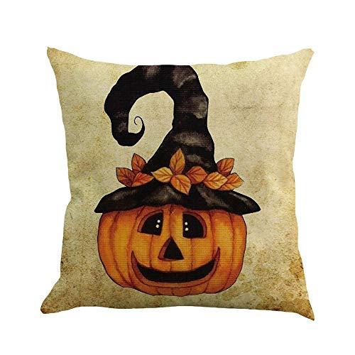 (VEMOW Heißer Happy Halloween 45 cm X 45 cm Kissen Dekoration Fall Glücklich Herbst Yall Leinen Sofa Kissenbezug(Mehrfarbig D, 18
