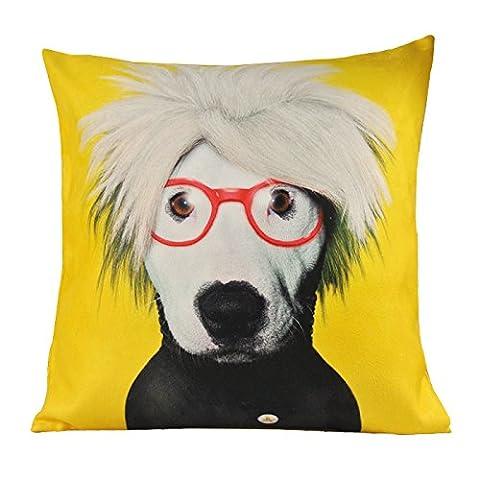 Nava Housse de coussin Motif chien style Pop Art Jaune