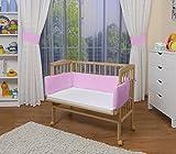 WALDIN Baby,Lettino culla,altezza regolabile,paracolpi e materasso,in 16 varianti, naturale,Superficie d'appoggio EXTRA lung. 90 x larg. 55 cm,rosa