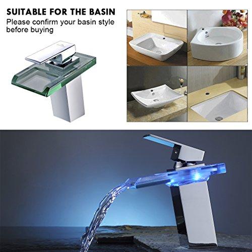 Auralum® LED RGB 3 Farbewechsel Glass Wasserhahn Chrom Wasserfall Waschtischarmatur Armatur für Bad Badenzimmer Waschbecken - 5