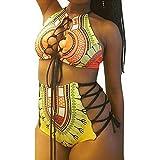 Venta caliente !Traje de baño, FeiXiang♈Traje de baño de dos piezas nuevo traje de baño de cintura de las mujeres más traje de baño bikinis de playa bikini traje de baño dividido Traje (2XL, Amarillo)