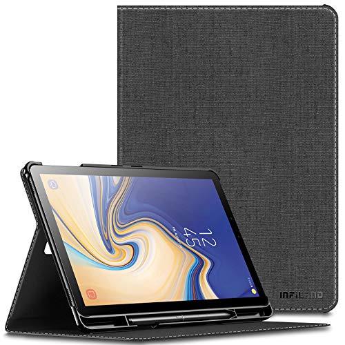 Infiland Supporto Frontale Custodia per Samsung Galaxy Tab S4 10.5 Pollice(T830/T835) 2018, con Protettivo Portapenne, Auto Sonno/Veglia,Grigio