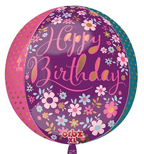 amscan 3331301 - Globos de Papel de Aluminio con diseño Floral de Happy Birthday Orbs (15 x 16 Pulgadas)