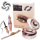 [2 Paires] Faux Cils Magnétique, Eyeliner Magnétique Kit,Magnetic Eyeliner 3D Liquides Imperméable,Réutilisable 5 Aimants 3D Faux Cils, 5 Aimants Faux-cils Sans Colle
