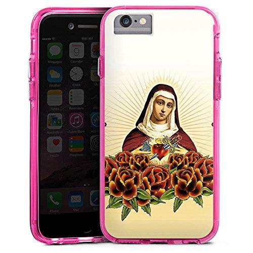 Apple iPhone X Bumper Hülle Bumper Case Glitzer Hülle Maria Kreuz Rosen Bumper Case transparent pink