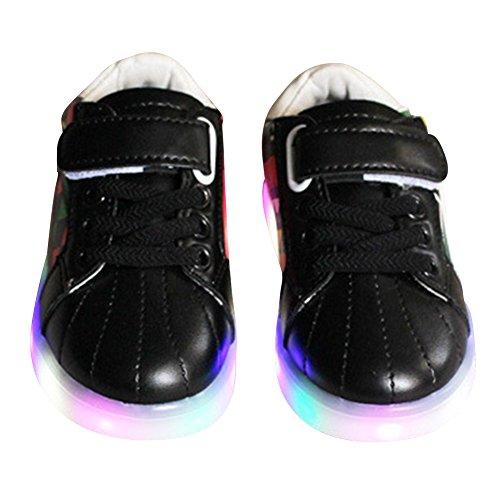 Highdas Kleinkind Jungen Mädchen LED Schuh bunte leuchten Sneakers Turnschuhe M001-schwarz