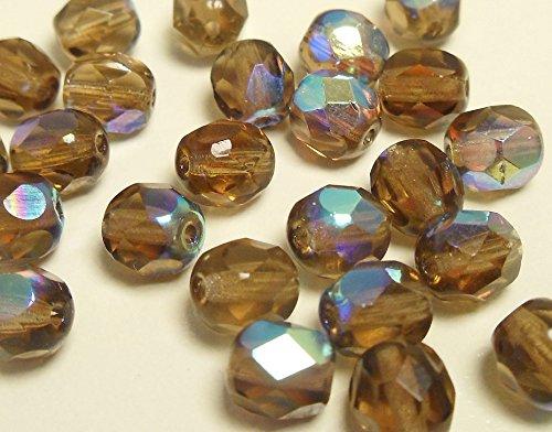 30 Preciosa Glasschliffperlen 6mm Feuerpoliert Facettiert Rund Kristall Perlen Farbauswahl (Dunkelbraun AB / Smoked Topas AB/) -