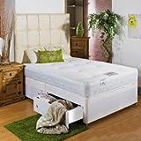 Hf4you Hf4you - Cama de diván con memoria blanca suave, tamaño doble de 122 cm, cajón de extremos, sin cabecero