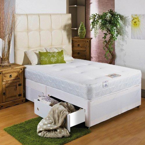 Hf4You blanco suave de memoria cama con canapé–3ft 6grande de un solo–2cajones mismo lado–20crema piel sintética cabecero de cama por Hf4you