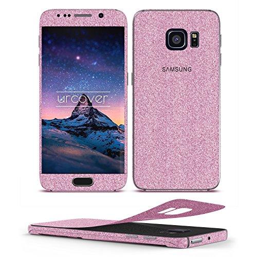 Urcover Glitzer-Folie zum Aufkleben Kompatibel mit Samsung Galaxy S6 Edge | Folie in Pink | Handyskin Funkeln Schutzfolie Bling Glamourös