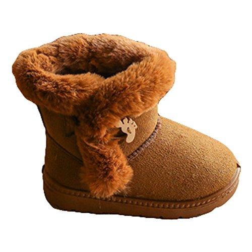 Kinder Winter Stiefel Wildleder Knopf Baumwolle Fleece Linning kurze Knöchel Schnee warme flache Bootie Schuhe