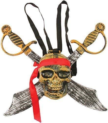Mädchen Doppel Totenkopf Pirat Buschmesser Schwerter Rucksack Halloween Kostüm Kleid Outfit Zubehör Waffe Satz ()