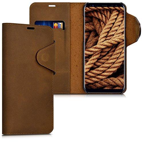 kalibri-Echtleder-Wallet-Hlle-fr-Samsung-Galaxy-S8-Plus-Case-mit-Fach-und-Stnder-in-Braun