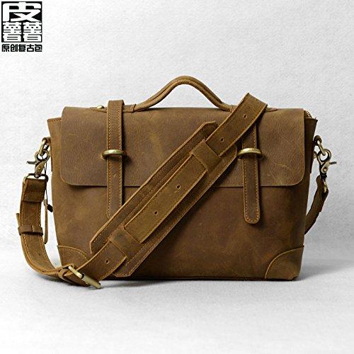 Angleterre mode rétro sac Messenger en cuir sacs à bandoulière pour ordinateur portable sac homme sacs à main,Black grain pattern Retro Brown