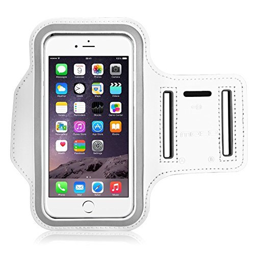 """MoKo iPhone 6S Plus Armband - Sweatproof Joggen Laufen Sport Armband Handy Hülle Schutzhülle Case + Schlüsselhalter Kopfhörer Anschluss für Apple iPhone 6 Plus / 6S Plus 5.5"""", Smartphone, Schwarz Weiß"""