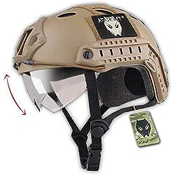 Tactique SWAT style militaire de l'armée Type de PJ de Casque Combat rapide DE avec lunettes pour CQB Tir Airsoft Paintball