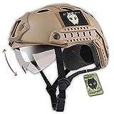 WorldShopping4U ATAIRSOFT tattico SWAT Stile Militare PJ Tipo Casco Lotta Veloce DE con Gli Occhiali per CQB Shot Airsoft Paintball