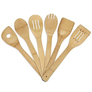 Bamboo Utensil Set, Annstory 6 Piece Bamboo Wood Nonstick Cooking Utensils Bamboo Spoons and Spatula Utensil Set - Bamboo Wood Nonstick Cooking Spoons for Kitchen