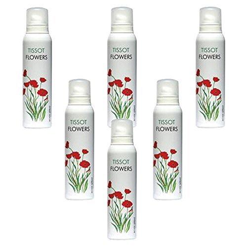 Preisvergleich Produktbild 6pcs x Tissot Flowers von Milton LLoyd Damen Frauen Körperspray Deo 150ml