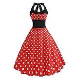 Huihong Retro Vintage Rockabilly Kleid Punkt Druck Neckholder Abend Party Prom Swing Kleid (Rot, L)