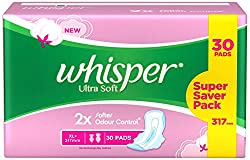 Whisper Ultra Soft XL Plus Sanitary Pads - 30 Count